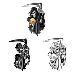 Coloring book Grim Reaper cartoon character