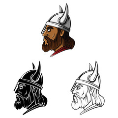 Coloring book Viking Head cartoon character