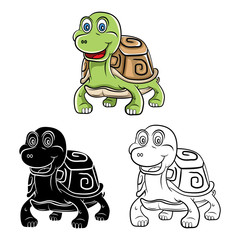 Coloring book Turtle cartoon character