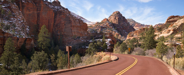 Two Lane Road Mountain Buttes Zion National Park Desert SW
