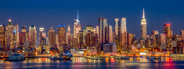 New York City Manhattan skyline view at night