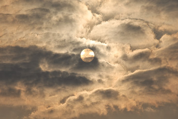 Dramatic sunrise with clouds