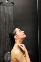Woman standing at the shower.