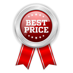 Red best price badge with silver border
