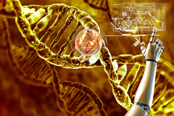 Digital illustration of DNA and its chemical formula