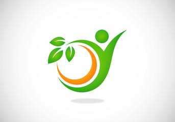 people natural beauty spa abstract vector logo