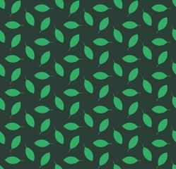 Minimalist green leaves seamless pattern