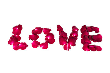 word love is written with rose petals on a white background