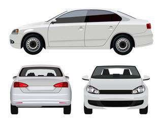 White Vehicle - Sedan Car from three angles