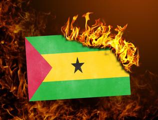 Flag burning - Sao Tome and Principe