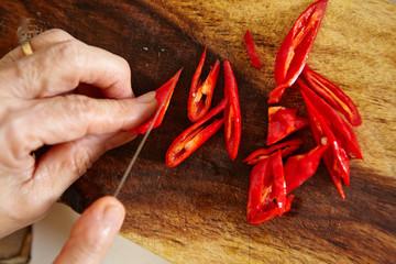 Cutting cayenne pepper