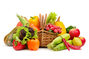 assortment vegetables and fruits in basket