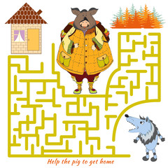 Help the pig to get home and out of the maze. Vector Rebus
