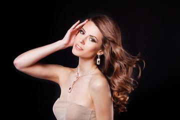 beautiful fashion model with perfect makeup wearing jewelry