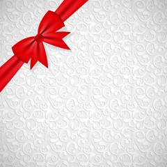 Gift Bow with Ribbon Background Vector Illustration