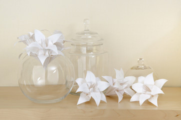 origami lilies in a vase