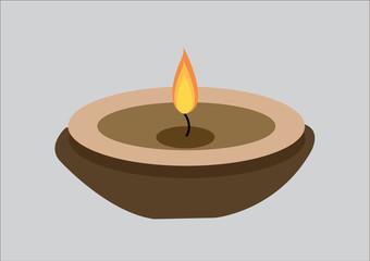 Candle flame on vintage wooden . Vector Illustration