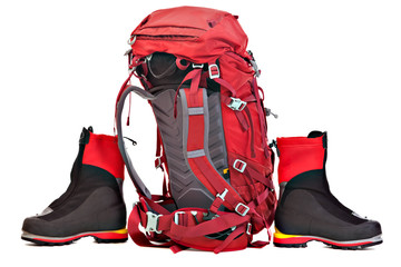 Red Backpack and Boots for Mountaineering.