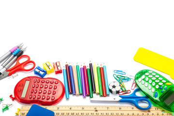 Stationery and school supplies isolated on white background.