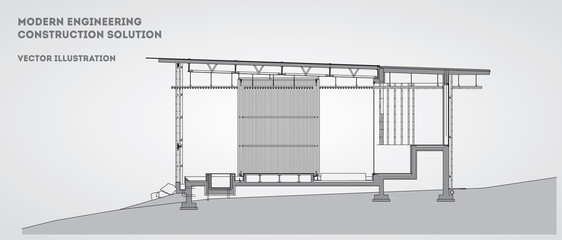 Printed roller blinds Stadion Modern architectural facade vector background. Eps 10