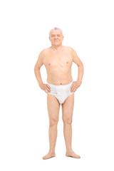 Senior posing in white underwear