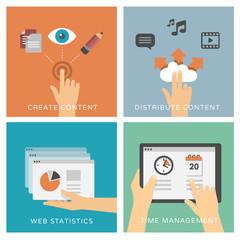 Multimedia content management - flat design illustrations
