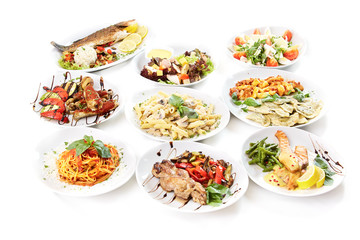Fresh dishes on a white background
