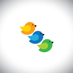 three cute birds in orange, blue and grren colors - vector icons