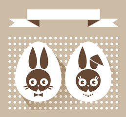 Easter card with rabbits. Vector greeting card