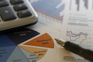 Financial data analyzing - Stock Image