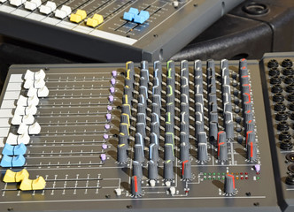 Control panel of an audio sound mixer