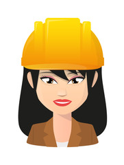 Female asian avatar wearing a working helmet