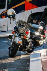 Police modern black motorcycle