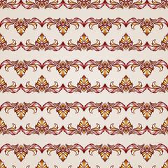 Stripy floral seamless pattern