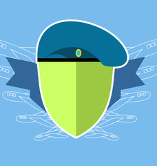 military emblem . Shield with the aircraft. Blue beret