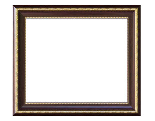 wood picture frame isolated white background
