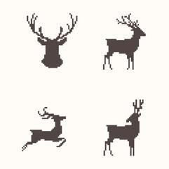 Set of silhouette images deer