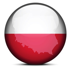 Map on flag button of Republic  Poland