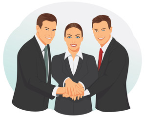 Group of smiling business people showing unity with their hands
