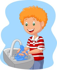 Cartoon boy washing hand
