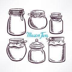 sketch mason jars