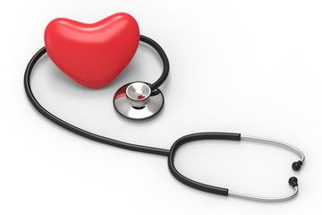 Stethoscope and Heart  on a white background