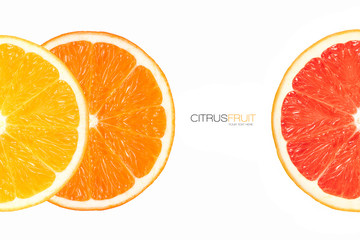 Closeup of Healthy Fresh Citrus Fruits. Template Design