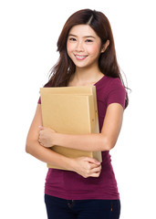 Young woman holding a file document
