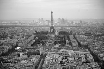 Black and white photo of aerial view Paris, France