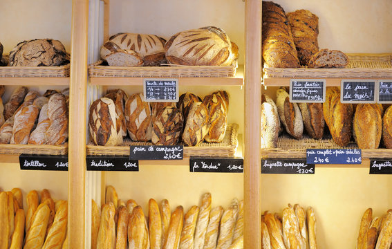 Freshly baked breads in French bakery