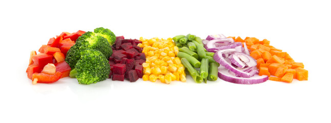 Line of different vegetables