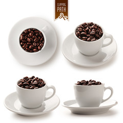 Coffee cup set with clipping path - 2