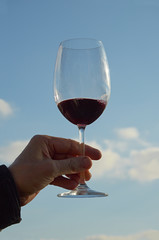 Glass with red wine.