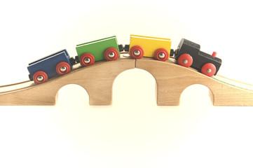 Wooden toy train setup